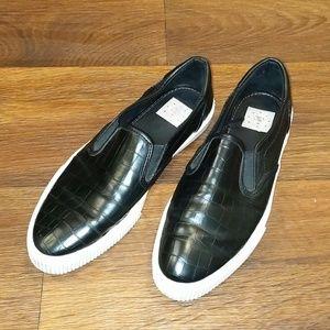 Bershka black slip on sneakers size 8